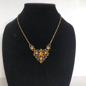 Coro vintage scroll heart necklace